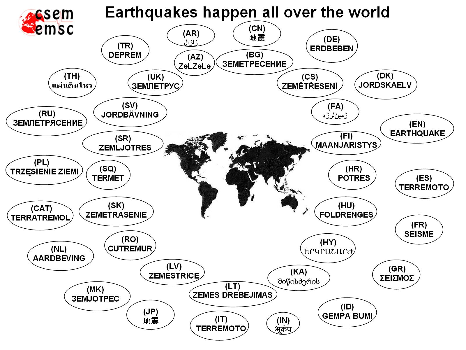 Earthquakes Happen All Over The World - All languages in the world